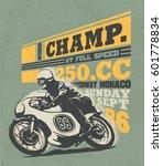 motorcycle racing typography  t ... | Shutterstock .eps vector #601778834