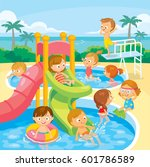 kids play and swim in aqua park | Shutterstock .eps vector #601786589