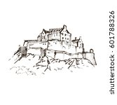 hand drawn famous old castle ... | Shutterstock .eps vector #601788326