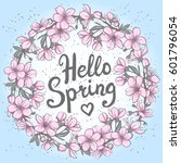 hello spring greeting card.... | Shutterstock . vector #601796054