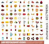 100 restaurant icons set in... | Shutterstock .eps vector #601798904
