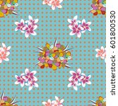 seamless floral pattern with... | Shutterstock . vector #601800530