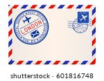 international air mail envelope ... | Shutterstock .eps vector #601816748
