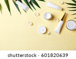 natural cosmetics and leaves on ... | Shutterstock . vector #601820639