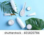 natural cosmetics and leaves on ... | Shutterstock . vector #601820786
