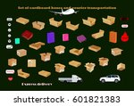 set of cardboard boxes and... | Shutterstock .eps vector #601821383