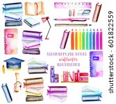set  collection of watercolor... | Shutterstock . vector #601822559