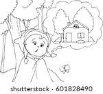 little red riding hood thinking ... | Shutterstock .eps vector #601828490
