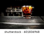 glass of iced cocktail on bar... | Shutterstock . vector #601836968