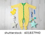 baby clothes and accessories on ... | Shutterstock . vector #601837940