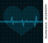electrocardiogram. blue waves... | Shutterstock . vector #601840094
