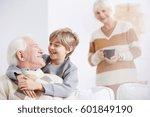 grandmother and happy boy... | Shutterstock . vector #601849190