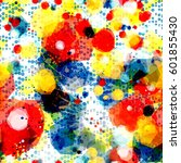 splatter paint background with... | Shutterstock .eps vector #601855430