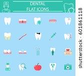 dental flat pictograms package  ... | Shutterstock .eps vector #601861118