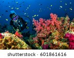 young woman scuba diving on a... | Shutterstock . vector #601861616