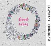 hand drawn boho style frame... | Shutterstock .eps vector #601863464