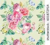 pattern with beautiful roses... | Shutterstock . vector #601872914