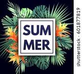 summer colorful hawaiian flyer... | Shutterstock .eps vector #601877819