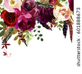 Stock photo watercolor boho burgundy red white floral drop flowers and feathers isolated 601888673