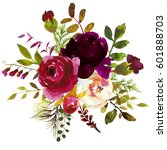 Stock photo watercolor boho burgundy red white floral round bouquet flowers and feathers isolated 601888703