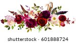 Stock photo watercolor boho burgundy red white pink floral bouquet flowers and feathers isolated 601888724