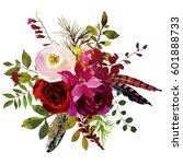 watercolor boho burgundy red...   Shutterstock . vector #601888733