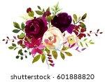 watercolor boho burgundy red... | Shutterstock . vector #601888820