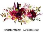 watercolor boho burgundy red... | Shutterstock . vector #601888850