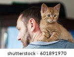 Stock photo kitten and man 601891970