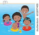 family having fun in swimming... | Shutterstock .eps vector #601897400