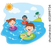children playing and having fun ... | Shutterstock .eps vector #601899734