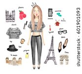 cute fashion girl with... | Shutterstock . vector #601901093