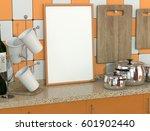 orange vintage kitchen interior ...   Shutterstock . vector #601902440