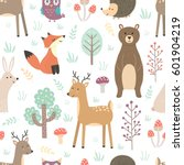 Stock vector forest seamless pattern with cute animals fox deer bear rabbit hedgehog and owl vector 601904219