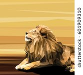 lion cat animal low poly design.... | Shutterstock .eps vector #601909310