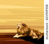 lion cat animal low poly design.... | Shutterstock .eps vector #601909508
