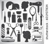 set of beauty hair salon or... | Shutterstock .eps vector #601937834