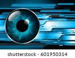future technology  blue eye... | Shutterstock .eps vector #601950314