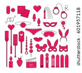 bdsm and sex set icons  linear...   Shutterstock .eps vector #601957118
