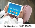 law and order concept on tablet ... | Shutterstock . vector #601959080