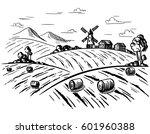 rural landscape field wheat in...   Shutterstock .eps vector #601960388
