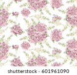 seamless watercolor peonies... | Shutterstock . vector #601961090