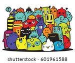 hipster hand drawn crazy doodle ... | Shutterstock .eps vector #601961588