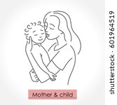 mother with child. line art... | Shutterstock .eps vector #601964519