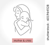 mother with child. line art... | Shutterstock .eps vector #601964528