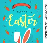 cute easter bunny ears with... | Shutterstock .eps vector #601966790