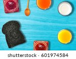 breakfast on the table is a... | Shutterstock . vector #601974584