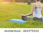 yoga in the park  outdoor with... | Shutterstock . vector #601975223