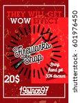 color vintage fireworks shop... | Shutterstock .eps vector #601976450