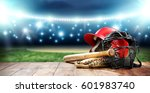 baseball and night time  | Shutterstock . vector #601983740